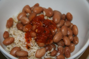 beans, rice and salsa